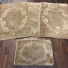 ROMANY WASHABLES GYPSY MATS 4PC SETS NON SLIP FRAME DESIGN BEIGE LUXURY CARPETS
